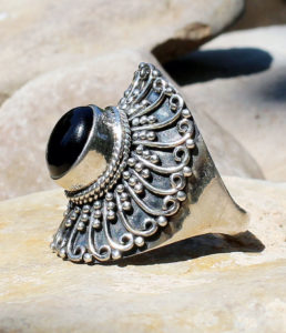 Silberring mit Onyx Stein - Ganesha Online Shop