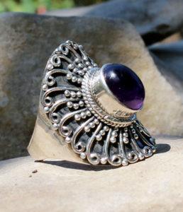 Silberring mit Amethyst Stein - Indien