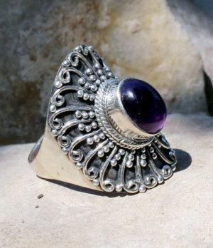 Silberring mit Amethyst - Ganesha Online Shop