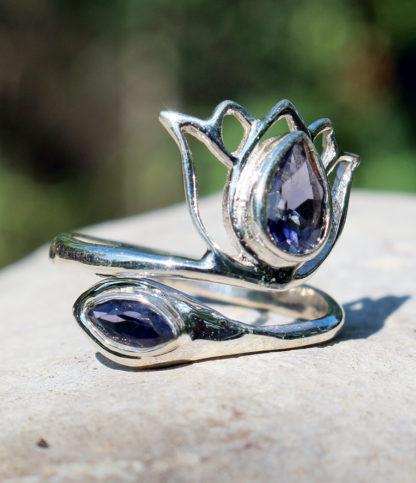 Verstellbarer Silberring mit Amethyst - Ganesha Shop