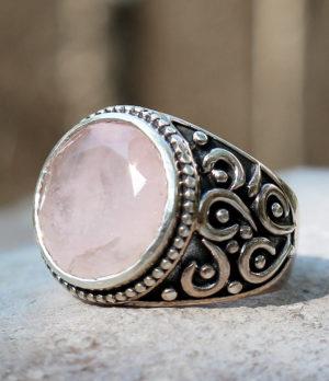 Silberring mit Rosenquarz - kauken