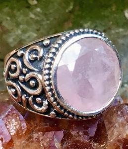 Silberring mit Rosenquarz - Ganesha Online Shop