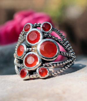 Silberring mit geschliffenen Karneol - online kaufen