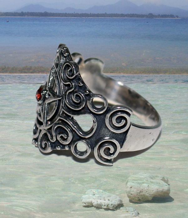 Pentagramm Preiswert im Online Shop Silberring mit Granat Stein