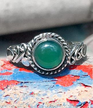Grüner Achat Silberring im Ganesha Online Shop