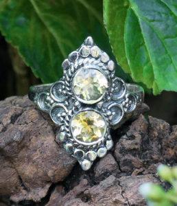 Silberring mit Citrin Steinen
