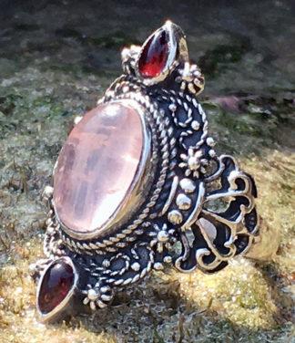 Silberring mit Rosenquarz und Granat
