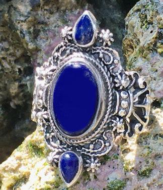 Silberring mit Lapislazuli Steinen im Ganesha Online Shop