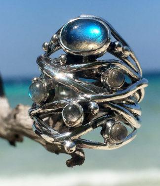 Silberring mit fünf Labradorit Steinen im Ganesha Online Shop