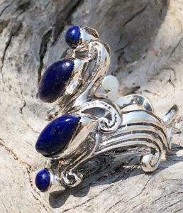 Silberring mit Lapislazuli und Pyrit