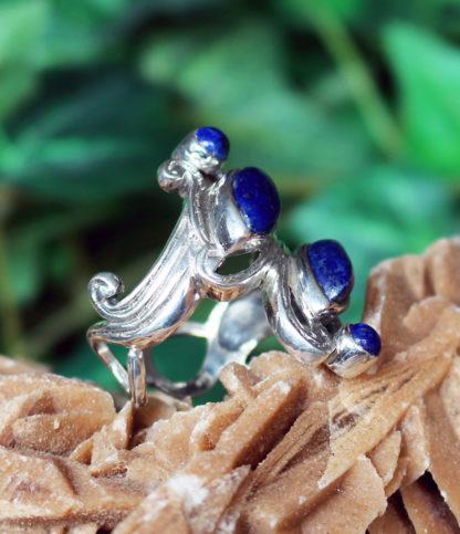 Silberring mit Lapislazuli und Pyrit online kaufen