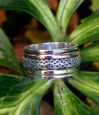 Silber Drehring mit Kupfer und Messing Reif