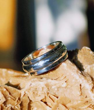 Silber Drehring mit Silberreif im Ganesha Shop