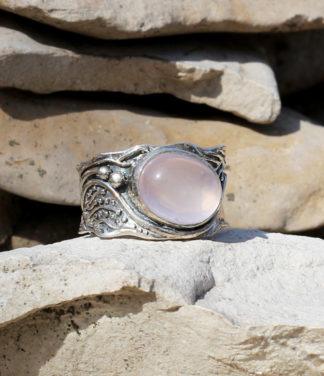 Rosenquarz Silberring im Ganesha Online Shop