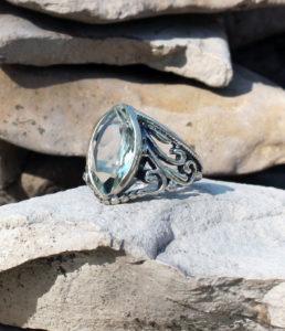 Silberring mit grünen Amethyst - Prasiolith