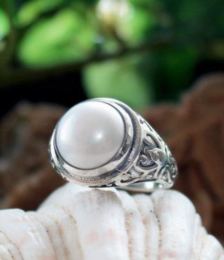 Herren Silberring mit Perle im Ganesha Shop