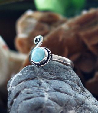 Kleiner offener Silberring mit Larimar im Shop Fürth online kaufen